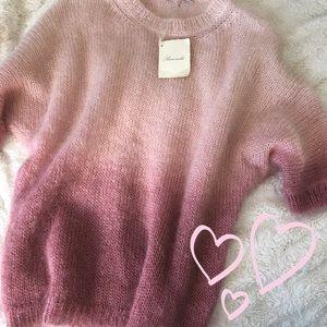 Italian Designer Rose Pink Sweater Mohair and Silk